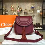 Replica Chloe Hudson Stitch Leather Studded Shoulder Large Bag Leather Pre-Fall 2015 Collection, Burgundy