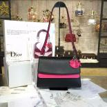 Replica Christian Dior Be Dior Double Flap Bag Calfskin Leather 28cm Large Bag Spring/Summer 2016 Collection, Fuschia/Black