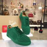 Replica Christian Louboutin Louis Junior Spikes Low-Top Suede Sneaker With Red Bottom, Green