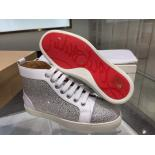Replica Christian Louboutin Louis Strass Men's Flat Sneakers Lace Up With Red Bottom, White