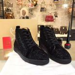 Replica Christian Louboutin Strass-Embellished Louis Flat Sneakers With Red Bottom, Black