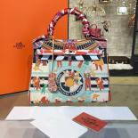 Replica Customized Hand Painted Hermes Kelly 32cm Togo Calfskin Bag Handstitched Gold Or Palladium Hardware, Man Multicolor