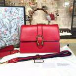 Replica Gucci Dionysus Leather Bamboo Large Top Handle Bag Fall/Winter 2016 Collection, Hibiscus Red