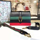 Replica Gucci Dionysus Leather Bamboo Large Top Handle Bag Fall/Winter 2016 Collection, Hibiscus Red/Green/Black