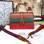 Replica Gucci Dionysus Leather Bamboo Large Top Handle Bag Fall/Winter 2016 Collection, Hibiscus Red/Tan/Green