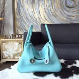 Replica Hermes Lindy 26cm/30cm Taurillon Clemence Calfskin Bag Handstitched, Blue Atoll 3P