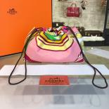 Replica Hermes Silk Fourbi Carre En Cravates GM Bag Insert With Rose Tyrien Leather Fall/Winter 2016 Collection, Light Pink/Yellow Multicolor
