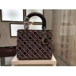 Replica Lady Dior Cannage Stitch Embroidered Medium Bag Spring/Summer 2015 Runway Bag Collection, Black/Light Blue/Red