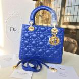 Replica Lady Dior Lambskin Leather Medium Bag Gold Harware Resort 2017 Collection, Electric Blue