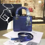 Replica Lady Dior Micro-Cannage Metallic Perforated Calfskin Leather 17cm Bag Winter 2016 Collection, Blue With Silver Chain