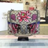 Replica Luxury Gucci Dionysus GG Supreme Lilies And Heart Embroidery Canvas Shoulder Large Bag Sequin Appliqué Fall/Winter 2016 Collection, Beige/Purple Python