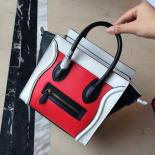 Replica On SALE! Celine Nano Luggage Bag Smooth Calfskin Leather Cruise 2015 Collection, Vermillon Red/White/Black