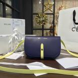 Replica Perfect Celine Clutch On Strap Bag Grained Calfskin Pre-Fall Winter 2016 Collection, Navy/Yellow