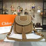 Replica Perfect Chloe Hudson Stitch Studded Shoulder Medium Bag Suede Pre-Fall 2015 Collection, Tan