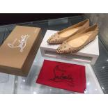 Replica Perfect Christian Louboutin Degraspike Kidskin Leather & Spiked Cap-Toe Ballet Flats, Nude