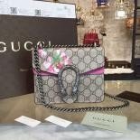 Replica Perfect Gucci Dionysus GG Supreme Blooms Print Small Shoulder Bag Fall/Winter 2016 Collection, Burgundy/Beige