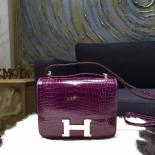 Replica Perfect Hermes Constance 18cm Shiny Alligator Crocodile Original Leather Fully Handstitched Gold Hardware, Cassiss N5