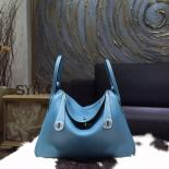 Replica Perfect Hermes Lindy 26cm/30cm Taurillon Clemence Calfskin Bag Hand Stitched, Blue Jean CC75