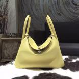 Replica Perfect Hermes Lindy 26cm Taurillon Clemence Calfskin Bag Handstitched, Jaune Poussin 1Z