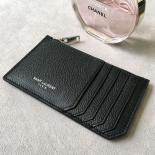 Replica Perfect Saint Laurent 5 Fragments Zipped Case In Black Leather