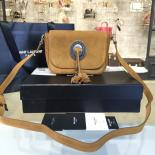 Replica Perfect YSL Saint Laurent Kim Cross Tassel 20cm Small Bag Calfskin/Suede Leather Fall/Winter 2016 Collection, Brown