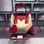 Replica Prada Double Tote Medium Bag Original Leather Spring Summer 2015 Collection, Red With Canvas