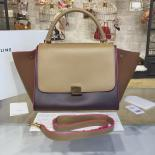 Replica Replica Celine Trapeze Top Handle Medium Bag Smooth Calfskin With Suede Leather Pre-Fall Winter 2016 Collection, Beige/Burgundy/Brown With Pink Piping