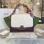 Replica Replica Celine Trapeze Top Handle Small Bag Grained Calfskin With Suede Leather Pre-Fall Winter 2016 Collection, White/Burgundy/Green