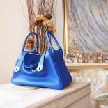 Replica Replica Hermes Lindy 26/30cm Taurillon Clemence Calfskin Bag Handstitched, Blue Electric 7T