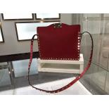 Replica Replica Valentino Rockstud Shoulder Tote Bag Smooth Calfskin Leather Fall 2015 Collection, Red