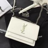 Replica Saint Laurent Small Sunset Monogrm Bag In White Grained Leather