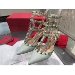 Replica Valentino Rockstud Leather Mid-Heel Slingback Calfskin Leather 2015 Collection, Mint