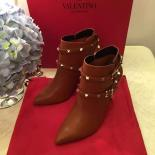 Replica Valentino Rockstud Leather-Strap Ankle Boots Calfskin Leather 2015 Collection, Cognac