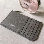 Saint Laurent 5 Fragments Zipped Case In Grey Leather
