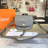 Sale Chloe Kurtis Suede And Calfskin Leather Small Shoulder Bag Pre-Fall 2016 Bag Collection, Grey
