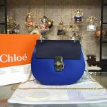 Sale Copy Of Chloe Drew Shoulder Bag Leather Pre-Fall 2015 Collection, Electric Blue/Navy Blue