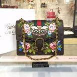 Sale Gucci Dionysus GG Supreme Owl-Embroidered Canvas Shoulder Large Bag Fall/Winter 2016 Collection, Brown Multi