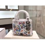 Sale Lady Dior Flower Embroidery Mini Bag Calfskin Leather Fall/Winter 2015 Collection, White
