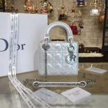 Sale Lady Dior Iridescent Nubuck Calfskin Mini 17cm Bag With Chain Cruise 2016 Collection, Silver