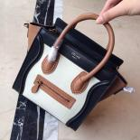 Sale On SALE! Celine Nano Luggage Bag Smooth Calfskin Leather Cruise 2015 Collection, Off White/Tan/Black