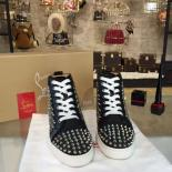 Selling Christian Louboutin Louis Spikes Flat Men's Lace Up Sneakers With Red Bottom, Dark Denim