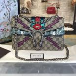 Selling Gucci Dionysus GG Supreme Canvas Shoulder Medium Bag With Mouth And Lightening Bolt Appliqué Fall/Winter 2016 Collection, Beige Suede/Beige