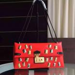 Selling Louis Vuitton Sac Triangle PM Metal Stones M50853 Red
