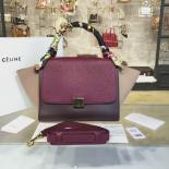 Top Quality Celine Trapeze Top Handle Small Bag Grained Calfskin With Suede Leather Pre-Fall Winter 2016 Collection, Berry/Burgundy/Light Pink