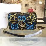 Top Quality Gucci X GucciGhost Graffiti Print Alessandro Michele Marmont Matelassé Large Shoulder Bag Fall/Winter 2016 Collection, Black/Blue/Gold