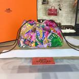 Top Replica Hermes Silk Fourbi Carre En Cravates GM Bag Insert With Rose Tyrien Leather Fall/Winter 2016 Collection, Pink/Green Multicolor