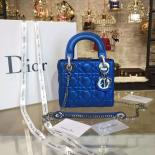 Top Replica Lady Dior Iridescent Nubuck Calfskin Mini 17cm Bag With Chain Cruise 2016 Collection, Electric Blue