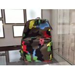 Valentino Camouflage Rockstud Original Leather Tote Nylon Large Backpack, Multicolor Green