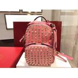 Valentino Colorblock All Over Rockstud Original Leather Tote Backpack, Pink