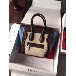 Wholesale Celine Micro Luggage Bag Grained Calfskin Fall/Winter 2015 Collection, Multicolor Beige/Burgundy/Blue